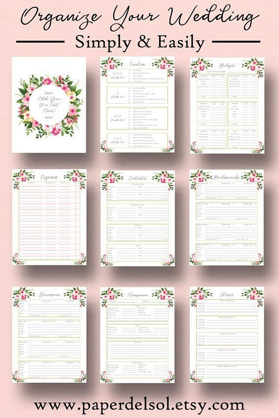 Printable Wedding Planner Editable Cover Page Letter Size A