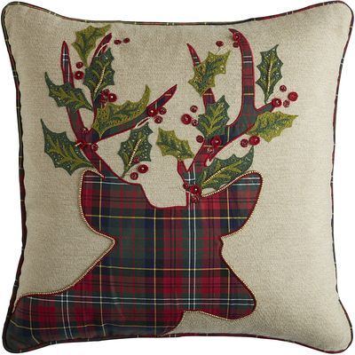 Rack up the style points with our whimsical reindeer pillow from our Plaid Tidings Collection. Classic red and green plaid—plus sprigs of holly—on a natural background will add an instant sense of creature comfort to your living room or family room.