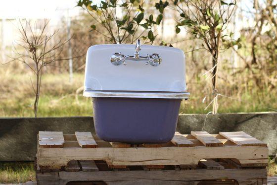 Vintage Style Utility Sink Deep Basin Dead Stock Cast Iron Porcelain Pitch Blue Sink Package