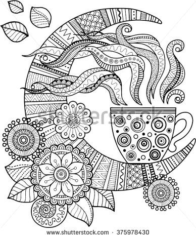Hand drawing vector elements. A cup of herbal tea for a good night. Coloring book for Adult - stock vector