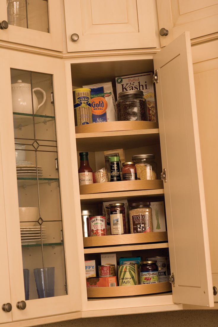 Kitchen wall organization ideas - A Corner Wall Cabinet Is An Ideal Location For A Stack Of Convenience Turntables Kitchen Organizationkitchen Storageorganization Ideaskitchen