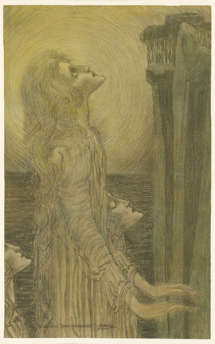 This painting is named Schets voor Panis Angelicus and was painted by Jan Toorop in1898. What I like about this painting is how delicate it is, everything from the colour to the use of the brush is very light and delicate. The figure in the painting is also quite odd looking which I find interesting.