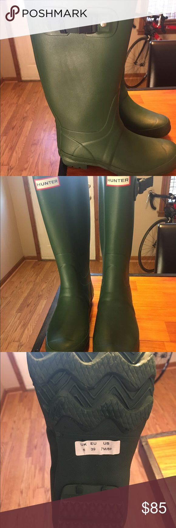 Hunter Huntress Boot 8 Green size 8 Hunter Huntress Boots. These are  the wide calf alternative to the Original Hunter Boots. Calf circumference is 16 3/4 with a 13 1/2 height. I bought these with the intention of keeping forever, but stumbled across a pair of country boots in the tack shop yesterday that fit like custom. So these beauties are for sale! I am a size 8.5 foot , sometimes 9, and the 8's fit perfectly. Just looking to get exactly what I paid for them! Worn a handful of times…