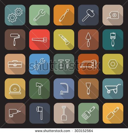 Tool line flat icons with long shadow, stock vector