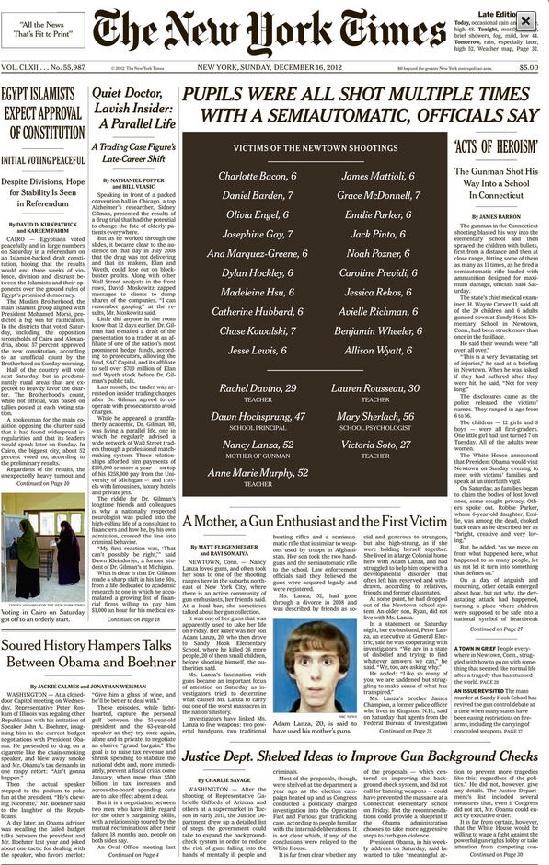 NYT 16 décembre 2012 - Massacre de Newtown