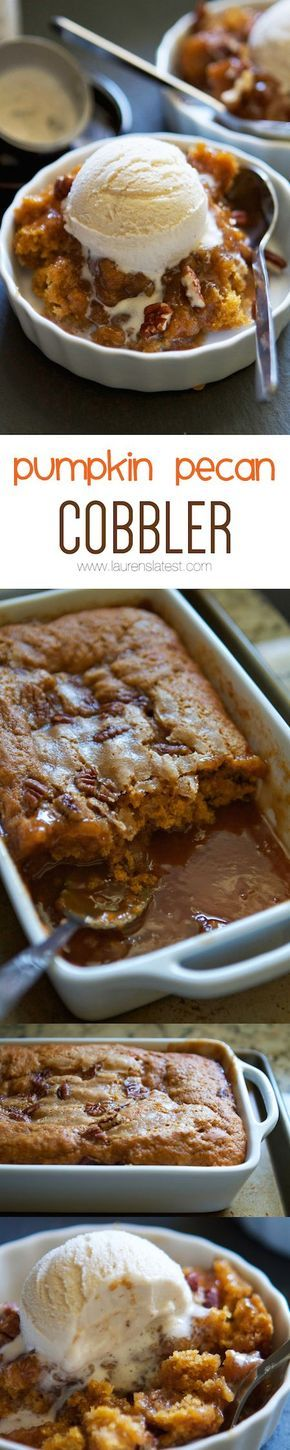 Pumpkin Pecan Cobbler...cake on the top, hot caramel sauce on the bottom!! Fall dessert central.