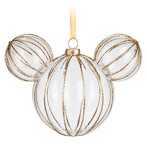 Mickey Mouse Icon Glass Ornament - Golden Rib