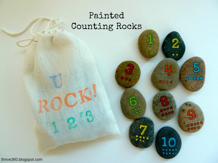 teach kids how to count and numbers with painted rocks // use with a picture matching book (see post)