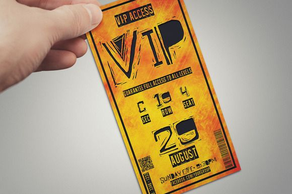 Multipurpose fire style VIP PASS by Tzochko on Creative Market