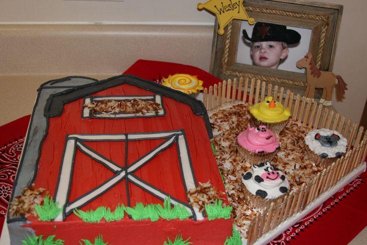 Barn birthday cake and farm animal cupcakes