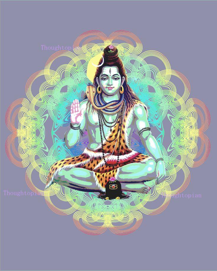 Dieu hindou Shiva Art Print 8 x 10 fond par thoughtopian sur Etsy