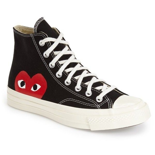 Men's Comme Des Garcons Play X Converse Chuck Taylor - 'Hidden Heart'... (2.831.120 VND) ❤ liked on Polyvore featuring men's fashion, men's shoes, men's sneakers, shoes, hearts, black canvas, mens black sneakers, mens canvas sneakers, mens canvas shoes and mens black high top sneakers