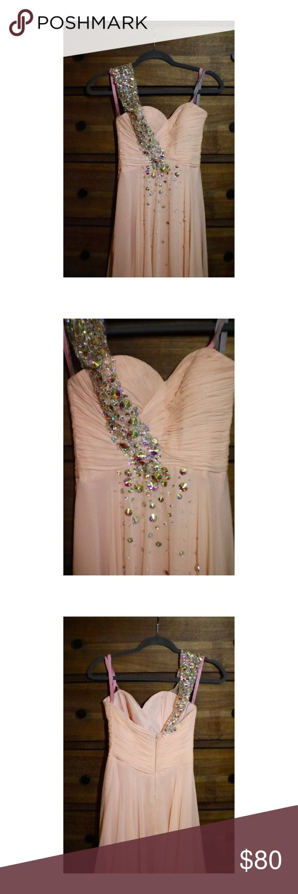 Blush Prom Dress size 0 Waist is 24 inches around, length from shoulder to floor is 55 inches. Only worn once to prom. Has three layers (seen in 2nd to last photo) Blush Dresses Prom