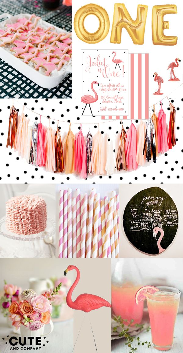 flamingo party ideas, flamingo party, summer party, pink lemonade, first birthday party, tissue tassel, pink yard flamingos, pink and peach ...