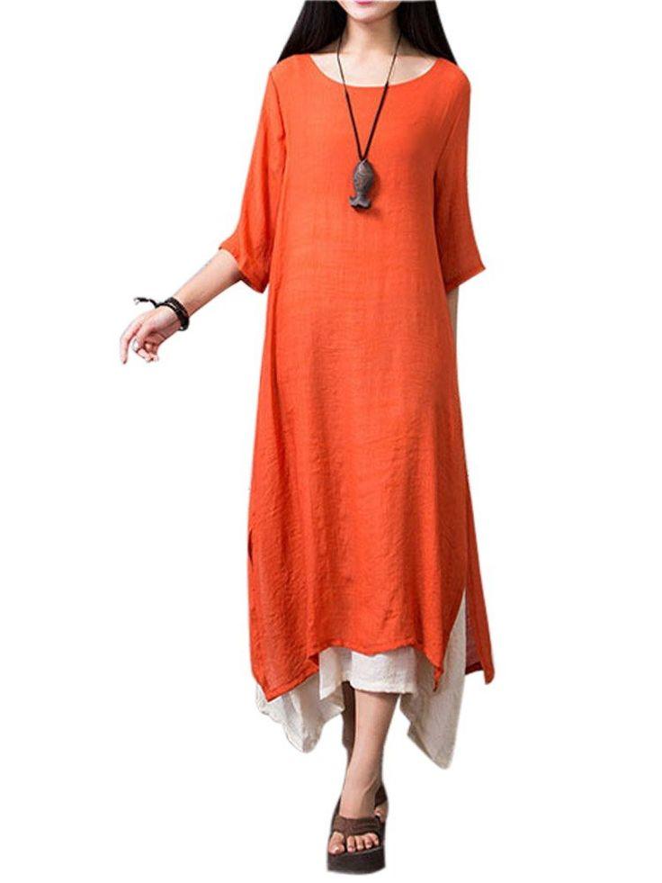 Vintage Women Patchwork Half Sleeve Split Solid Loose Linen High Low Dresses Shopping Online - NewChic