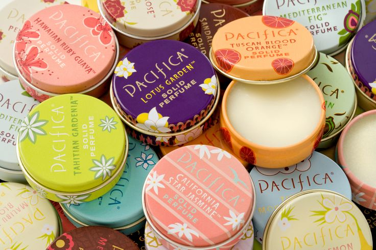 Pacifica solid perfumes. Phthalate free and made with 100% natural coconut and soy wax, natural and essential oils.