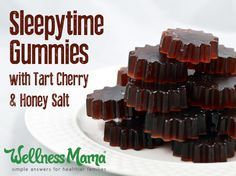 These tart cherry sleep gummies combine all of the natural sleep remedies I use: honey and salt, tart cherry juice and gelatin, into one delicious gummy.