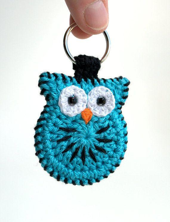 Crochet búho llavero, hecho a mano del buho del ganchillo llavero