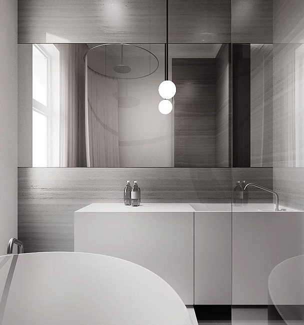 Love the vanity and the slight pop of color on the wall.