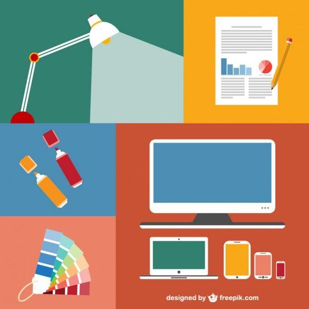 オフィスの要素の近代的なフラットなアイコンセット 無料ベクター