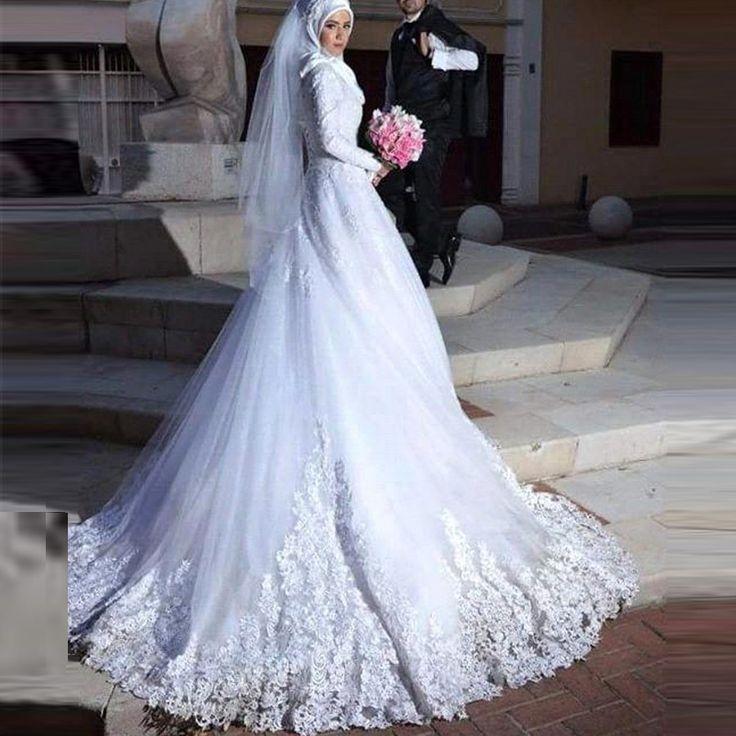 White Plus Size Hijab Wedding Dresses High-Neck New Arrival Shiny Beading Muslim