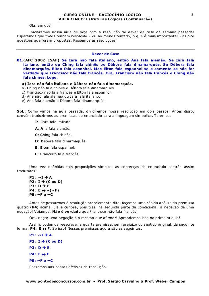 Raciocínio lógico aula 5-6 - estruturas lógicas 2