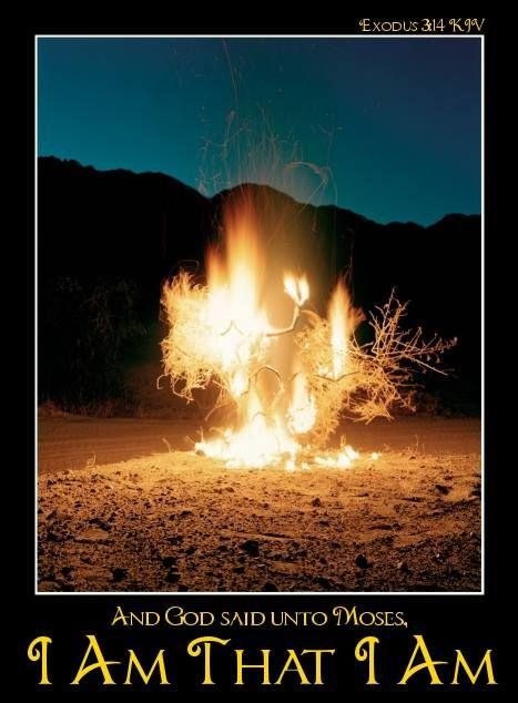 "And God said unto Moses, ""I Am That I Am: and he said, Thus shalt thou say unto the children of Israel, I Am hath sent me unto you.""  Exodus 3:14--Moses at the Burning Bush"