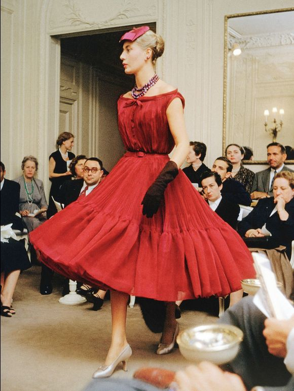 Cocktail dress Christian Dior Autumn/Winter 1954. Photo taken by Mark Shaw at the Maison Dior, Paris, France.