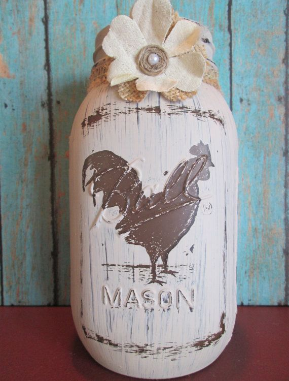 Rustic Rooster Hand Painted Mason Jar with Burlap by GeorgicJars, $20.00