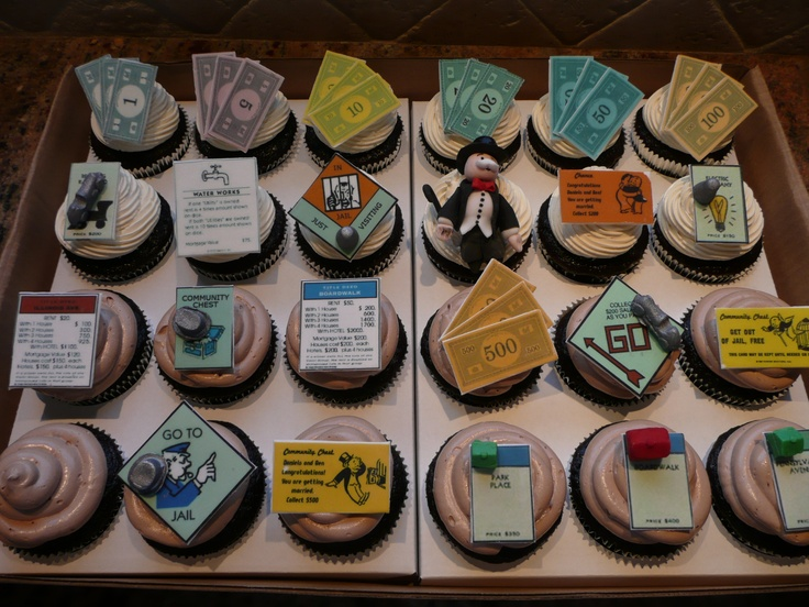 Monopoly cupcakes--how perfect for an office party at the real estate agency