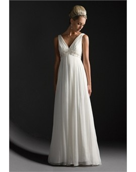 Simple yet stylish. V-neck maternity wedding dress. Empire style is perfect for mum-to-be.