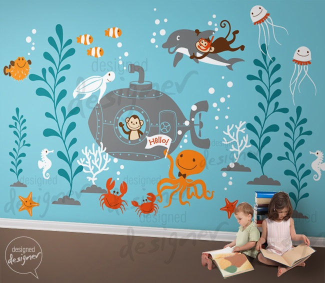 For a baby boy: Wall Decal Wall Sticker - Underwater World Kids Wall Decals- dd1058. $220.00, via Etsy.