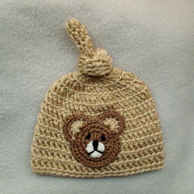 Bonnet lutin nou beige pour b b au crochet avec ourson - Crochet maille en l air ...