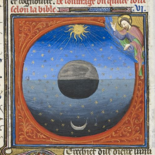 Sun and moon Guyart des Moulins, Bible historiale (Grande Bible historiale complétée, with prologues), volume 1 France, Central (Paris); c.1420