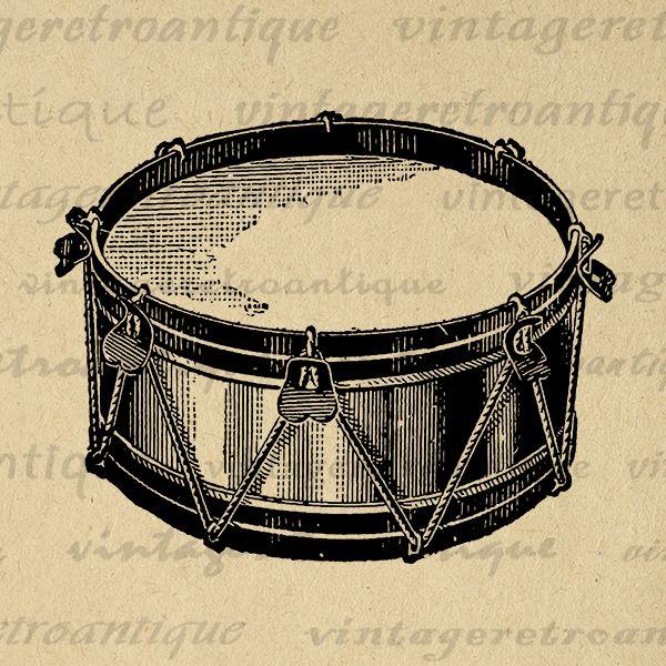 Digital Printable Snare Drum Image Music Download Illustration Graphic Vintage Clip Art Jpg Png Eps Print 300dpi No 1767 V Clip Art Vintage Drums Drum Tattoo