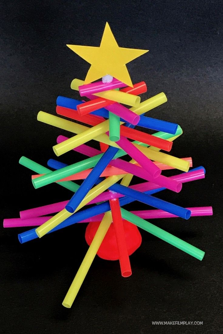 How To Make A Plastic Straw Christmas Tree Straw Crafts Plastic Straw Crafts Wooden Christmas Crafts