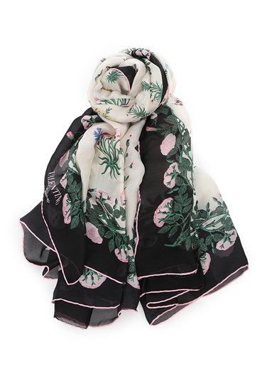 Ivory and black silk foulard by Valentino Garavani with multicolored floral print.