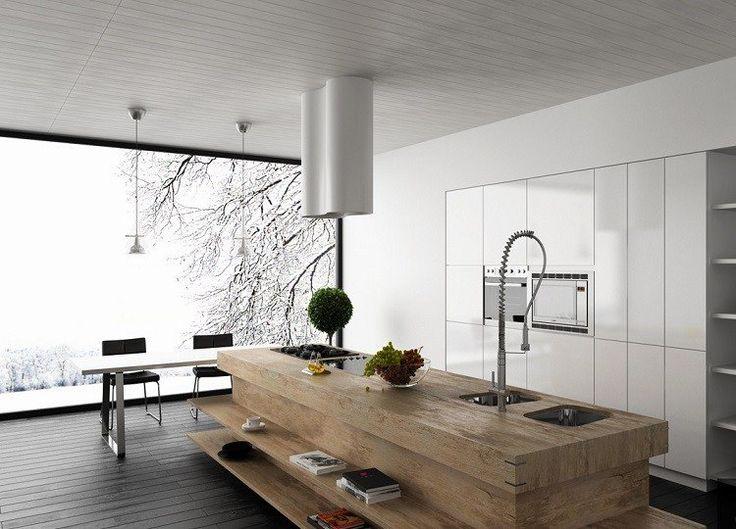 idée de cuisine moderne avec ilot central en bois massif