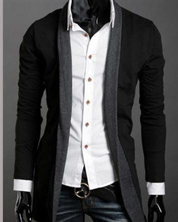 Joint Long Sleeve Pockets Buttonless Wool Blend Long Men Sweater