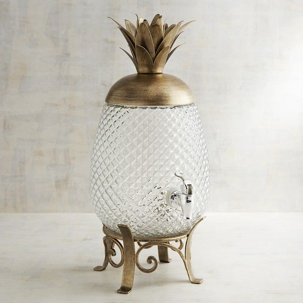 Pier 1 Imports Pineapple Beverage Dispenser ($80) ❤ liked on Polyvore featuring home, kitchen & dining, serveware, gold, beverage server, drink dispenser, beverage dispenser, drink server and pier 1 imports