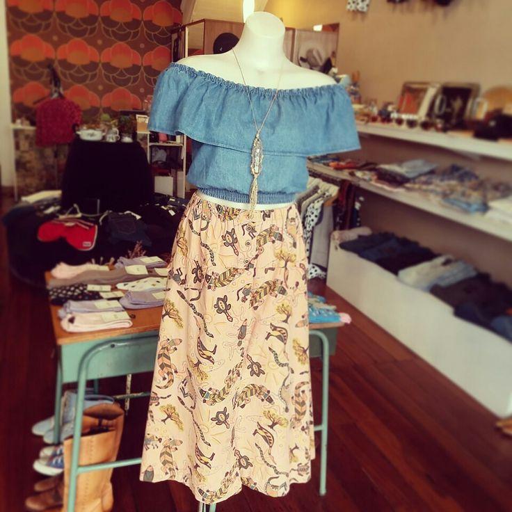 "New Wrangler ""ruffle top"" in faded indigo, vintage aboriginal print mid length skirt and  handmade macrame encased vintage bottle"