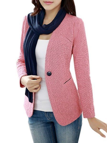 Plain Single Breasted Classical Collarless Blazers