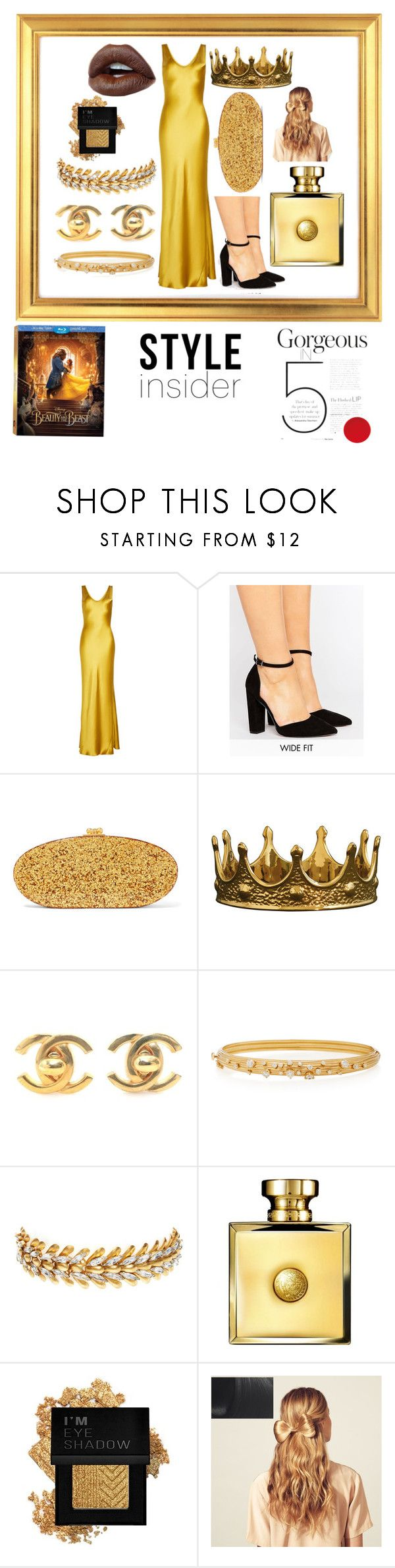 """""""Gorgeous In 5"""" by kabriadarshay ❤ liked on Polyvore featuring Disney, Galvan, ASOS, Edie Parker, Seletti, Chanel, Hueb, Elizabeth Cole, Versace and Forever 21"""