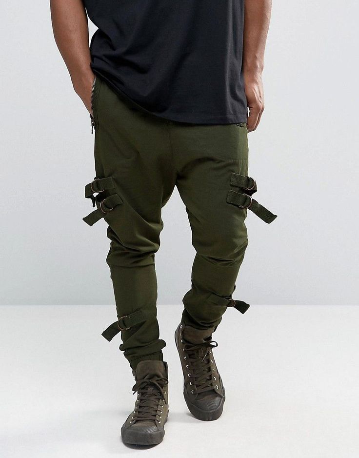 ASOS Drop Crotch Joggers With Taping In Dark Khaki - Green
