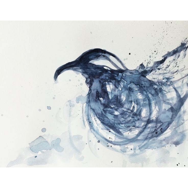 #watercolor #watercolour #crow #black #blue #bird #painting #art #abstract