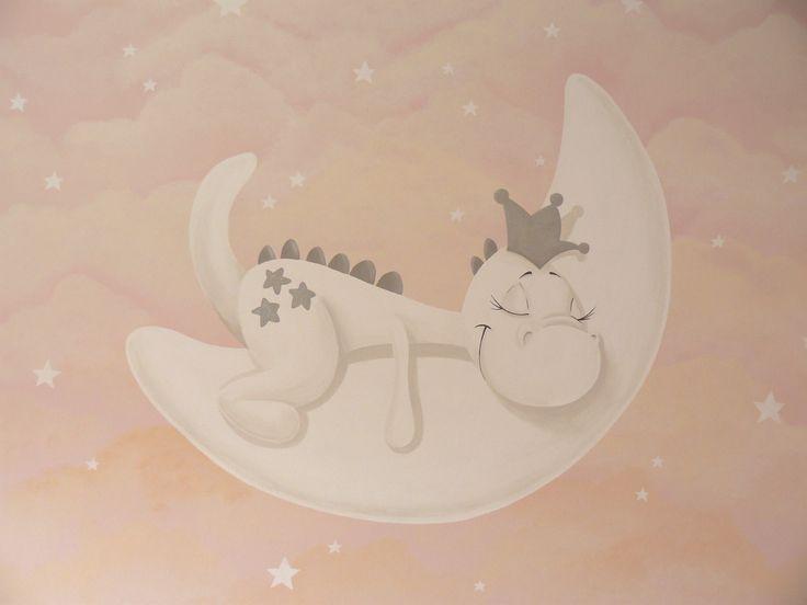 Muurschildering babykamer van de schattige Dirkje draak. Bekijk ook mijn Facebookpagina:  https://www.facebook.com/esthersmuurschilderingen/