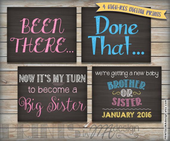 "4th Baby Pregnancy Announcement Photo Props, Been There Done That Now It's  My Turn, Chalkboard Style PRINTABLE 8x10/16x20"" Baby Reveal Signs"