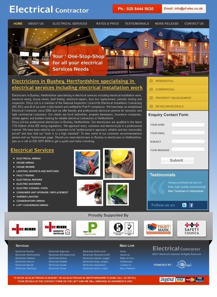 Website Design and Development for a Electrician in UK