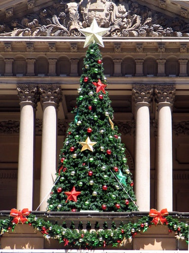 Christmas tree at the town hall in Sydney, Australia