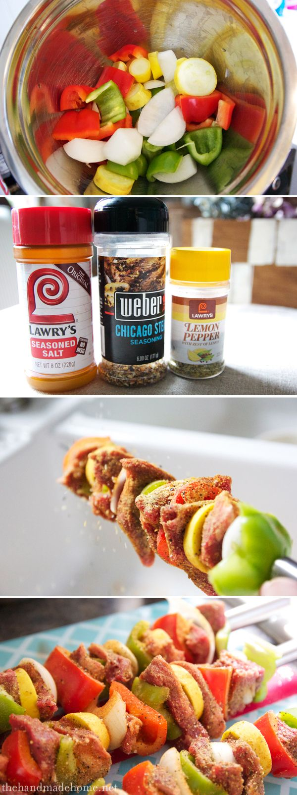 shishkabobs with Lawry's Seasoned Salt, Weber's Chicago Steak Seasoning, + Lawry's Lemon Pepper.